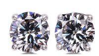 Wholesale diamond stud earrings carat resale online - best buy fine Original Solid Silver Stud Earrings Set Carat CZ Diamond Earring For Girls Women Engagement Wedding Jewelry