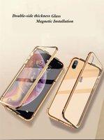 ingrosso coppa batteria mora-Custodia per telefono ad adsorbimento magnetico per iPhone7 / 8 / 7P / 8P / XS / X / XR / XSMAX / 6 / 6s / 6P / 6sP Telaio in lega di alluminio-magnesio con copertura completa in vetro temperato