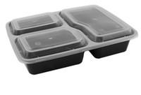 ingrosso nero bento-NUOVO Più economico !!! US AU Microonde Contenitori per alimenti ecologici 3 Scomparto monouso pranzo bento box nero Meal Prep 1000ml