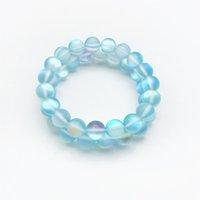 lumière de pierres précieuses achat en gros de-Bracelet Aura Quartz bleu clair de 10 mm, Bracelet de pierres précieuses, Perles rondes holographiques, Bracelet élastique, Bracelet de bonne chance