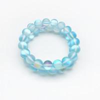 piedra preciosa al por mayor-Pulsera de cuarzo azul claro mate de 10 mm Aura, pulsera de piedras preciosas, cuentas redondas holográficas, pulsera elástica, pulsera de buena suerte