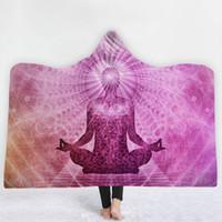 indien buddhismus großhandel-13 Styles Indien Religion Buddhismus Mandala 3D Gedruckt Plüsch Mit Kapuze Decke für Betten Warme Tragbare Weiche Fleece Decken