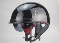 casco de doble cara de doble lente al por mayor-Casco de moto TKOSM Cascos Para Moto Open Half face Casco Moto Vintage Jet Capacetes de Motociclista con doble lente