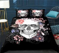 Wholesale queen size skull bedding sets for sale - Group buy High End Microfiber Skull and Rose Duvet Cover Sets Twin Full Queen King Size Four Seasons Bedding Set with Zipper Closure Corner Ties