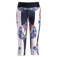 sevimli kadın spor giyim toptan satış-Sevimli Desen Dijital Baskı Elastik Kuvvet Nefes Capril Pantolon Yüksek Bel Kadın Spor Egzersiz Tayt Yan Cep