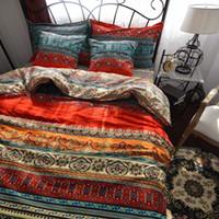 Wholesale brushed cotton bedding set for sale - WINLIFE Bohemia Retro Printing Bedding Ethnic Vintage Floral Duvet Cover Boho Bedding Brushed Cotton Bedding Sets
