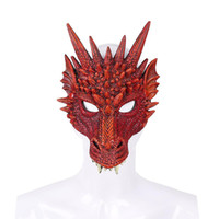 traje adulto do dia das bruxas do dragão venda por atacado-Cospty Frete Grátis Festa de Carnaval de Halloween New Design Decoração Adultos E Crianças 3D Máscara de Espuma De Pu Pu Máscara de Dragão