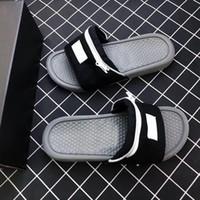 Wholesale eva slippers for men resale online - 2019 Designer Nik Slide Sandal Slippers Zipper Bag Key Bottoms Beach Holiday For Men Women Flip Flops Striped Beach Causal Slipper