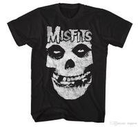 sallanan kafatası toptan satış-Yanlışlar KLASIK FIEND KAFATASı Korku Punk Rock T-Shirt NWT Lisanslı OfficialPrinted T Shirt erkek Streetwear