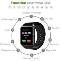 смотреть бесплатно телефон dhl оптовых-Смарт-часы GT08 для мобильного телефона Andriod Bluetooth-часы с SIM-картой Часы для IOS носимых устройств телефона Бесплатная доставка DHL