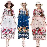vestuário casual china venda por atacado-Vestidos de Verão Estilo Chinês De Linho De Algodão Solto Plus Size Floral Imprimir China 2019 Nova Senhora Mulheres Casual Praia Desgaste Vestido Midi