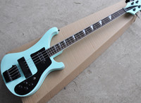 Wholesale customize bass guitar for sale - Light green string electric bass guitar with black shield rosewood scale black hardware accessories can be customized