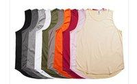 chemise blanche étendue achat en gros de-T-shirt long d'été de style hip hop t-shirts Kanye West sans manches pour hommes