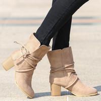 modelos de mujeres gruesas al por mayor-2020 nuevos modelos top botas de las mujeres de explosión de espesor con correas de botas grandes botas de gamuza tamaño de las mujeres