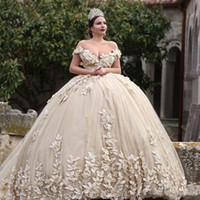 Wholesale plus sized ball gowns for sale - Group buy 2020 Sexy Luxurious Ball Gown Wedding Dresses Off Shoulder Lace Applique Beads D Flowers Illusion V Back Puffy Cathedral Train Bridal Gowns