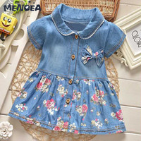 ingrosso tipo ragazze abiti-Menoea Girls Abiti Bambini Turn Down Collar Bow Floral Edge Princess Dress Casual Denim Dress T-shirt Type Cute Kids Clothes