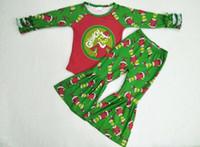 kırmızı bebek tozlukları toptan satış-Noel Moda Kış Bebek Kırmızı ve Yeşil Uzun Şeker Giyim Ruffled Kol Büyük fırfır Pantolon Tayt Küçük Kız Butik C