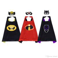 dibujos animados de la pantera negra al por mayor-Black Panther Incredibles Wolverine Cape Mask para niños Disfraces de superhéroes de dibujos animados para niños para Halloween Favores de la fiesta de cumpleaños de Navidad