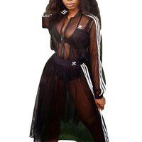 ingrosso pannello esterno allentato delle donne sexy-garza abito a due pezzi da donna vedere attraverso la camicia a maniche lunghe + gonna allentata moda gonna sexy di alta qualità abbigliamento donna klw2237