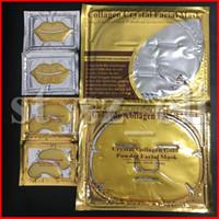 24k masken groihandel-6pc / set Goldaugen Gesichtsschablonen-Gesichtslippenschablonen-Kristallkollagen-Goldpuder, Gesichtsmaske, Feuchtigkeitsspendende Anti-Aging-24k-Augen-Lippen Gold-Masken