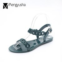 2018 New arrivals open toe chains women jelly sandals summer flat shoes  rope band gladiator sandalias mujer beach flipflops shoe 041e41638f50