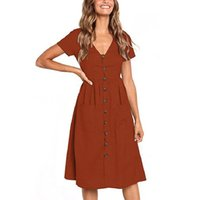 Wholesale black white v neck fitted dress for sale - Woman Short Sleeve Dress Girl V Neck Pleated Skirt Button Pocket Solid Color Slim Fit Mid Skirt