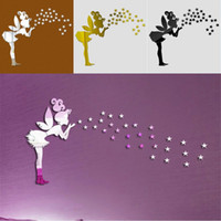 Wholesale fairy mirror wall stickers resale online - 3D Angel Stars Mirror Wall Sticker Fairy Angel Kids Bedroom Wall Decoration D Angel Crystal Mirrors Paste
