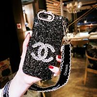 cas de téléphone couverts de diamant achat en gros de-Étuis de téléphone paillettes pour iphone xs max 6 7 8 plus strass diamant cas de téléphone poignet cas de téléphone de couverture