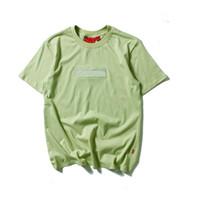 shirt marken logo groihandel-Marke Shirt Herren Designer T Shirts Stickerei Buchstaben Solide Tees Männer Casual Box Logo Frauen T Shirts Sommer Atmungsaktive Tops