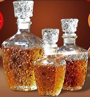 içki hediyeleri toptan satış-Viski Likör Şarap İçecekler Dekanter Cam Kristal Şişe Şarap karaf Hediye Temizle Cap 250ML 500ML 1PC