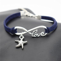 leather lucky charm bracelets großhandel-Dark Navy Leather Suede Wrap Armband Armreif Infinity Love Sea Star Seestern Anhänger Zubehör für Segen Frauen Männer Lucky Jewelry Geschenk