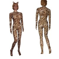 ingrosso gioco di ruolo catsuit-Sexy Sheer Opaque Cavallo Zip lungo Leopard Animal Print Catsuit con orecchie Tuta Body Cat Woman Role Play Costume fetish