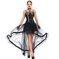 ingrosso costume sexy del vestito dal corsetto nero-Black And Leopard Steampunk Corset Dress Vintage Gothic Abbigliamento Abiti Showgirl Burlesque Costume donna Corpetto corpetto sexy