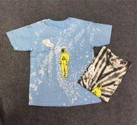 mujeres teñir las camisetas al por mayor-2019 Teñido anudado Travis Scott Astroworld Tour Astronauta Tee camiseta Hip Hop Hombres Mujeres La mejor calidad de manga corta para hombre camisetas