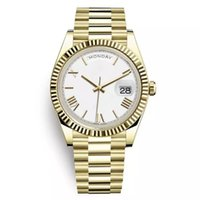 ingrosso per orologio da corona-Rolex Day Date New Watch Uomo Daydate Sapphire Glass Golden White Orologio Crown Automatic Numero romano President Orologi Orologio