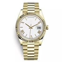weiße saphire großhandel-rolex day date Tag Datum Neue Uhr Männer Tagdatum Saphirglas Golden White Uhr Krone Automatische römische Zahl Präsident Uhren Orologio
