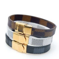 Wholesale leather bracelets for sale - Group buy Brand Classic Lattice Leather Bracelets for Men Women Steel White Brown Black PU Leather Designer Buckle Bracelet Jewelry Christmas Gift