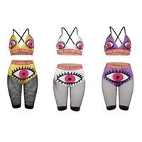 sütyen külotları toptan satış-Yaz Kadın Mayo Jartiyer Yelek + Örgü Şort 2 Parça Set Mayo Büyük Göz Sutyen Külot Bikini Kadın Plaj Giyim C51412