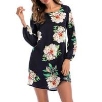 lustige gedruckte kleider großhandel-Blumendruckhemdkleid plus Größenfrauen Sommer elegante lustige lange Hülse lose beiläufige o Ansatzpartybadebekleidungsweinlesekleid 3XL