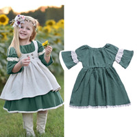 Wholesale baby girl brand clothing online - Baby girls lace green dress Spring Autumn Flare Sleeve Children princess dress Boutique Kids Clothing C6069