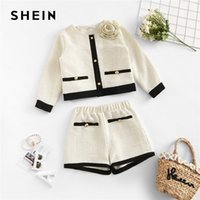 Wholesale vintage children clothing for sale - Group buy SHEIN Apricot Appliques Button Top And Shorts Elegant Girls Clothing Two Piece Set Spring Fashion Vintage Children Clothes