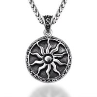 Wholesale big chains for sale - Group buy Big Sunflower Charm Necklaces Vintage Titanium Stainless Steel Sun God Pendant Chain Necklaces for Men Women Hip Hop Jewelry