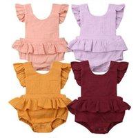 Wholesale children girl summer romper for sale - Group buy Newborn Baby Rompers Infant Jumpsuits Kids Clothes Solid Color Summer Romper Girls Boys Strap Bow Jumpsuit Children Clothing cm