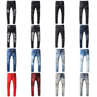 Wholesale boys jeans orange for sale – denim Brand Designer Jeans Rock Renaissance Jeans The United States Street Style Boys Hole Embroidered Jeans Men Women Fashion Hot Size