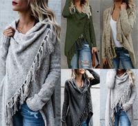 kazak kadın uzun örgü toptan satış-Kadınlar Tasarımcı Palto 4 Renk Uzun kollu Büyük Boy Bayan Giyim Püskül Örgü Triko Coat Hırka S-XXL