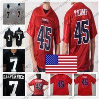 американский футбол оптовых-Встать в Америку # 45 Дональд Трамп США Красный IMWITHKAP # 7 Колин Кэперник Черный Белый Американский футбол Мужчины Женщины Молодежь Малыш Джерси 4XL
