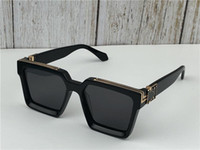 Wholesale logo for sale - Group buy 2019 New men brand designer sunglasses Millionaire square frame vintage shiny gold summer UV400 lens style laser logo top quality