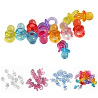 Wholesale acrylic pacifier charms resale online - 50pcs cm Mini Pacifiers Clear Acrylic Ornaments Loose Spacer Pacifier Pendant Charms Baby Shower Party Favors Wedding Decor