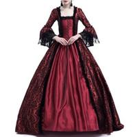 glockenkostüme großhandel-Frauen mittelalterlichen Vintage Kleid S ~ 3XL Renaissance viktorianischen Kleid elegante Spitze große Glocke Cosplay Kostüm Party Kleider Dame