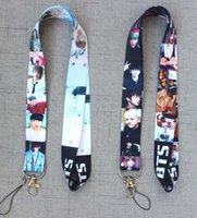 kızlar telefon tutucuları toptan satış-10 adet Pop yıldız BTS BOY İpi Cep Telefonu KIMLIK Kartı Anahtarlık Tutucu kız hediyeler